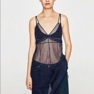 Zara Sheer Navy Blue Tulle Dress Ruffle Polka Dot